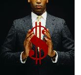Man holding a dollar sign