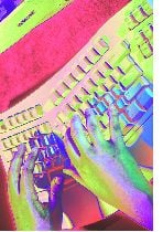 psychedelic hands at keyboard