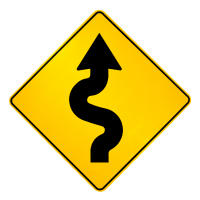 curve in road sign