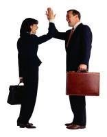 business people congratulating one another