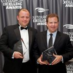 Giffgaff and Firstsource accepting 2013 Outsourcing Excellence Award