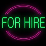 For hire neon sign