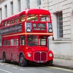 LONDON - FEBRUARY 13: Red Double Decker Bus on the Trafalgar squ